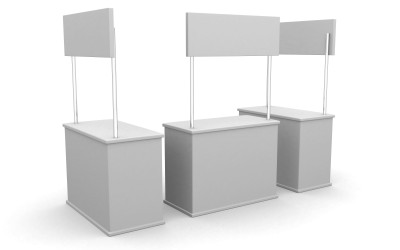 Blank stand. 3D rendered illustration