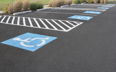 Handicapped Parking Space at Business Location Parking Lot