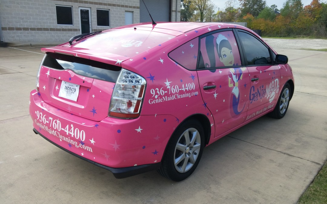 Full-body Vehicle Wrap Custom Made in Conroe, TX for Genie Maids