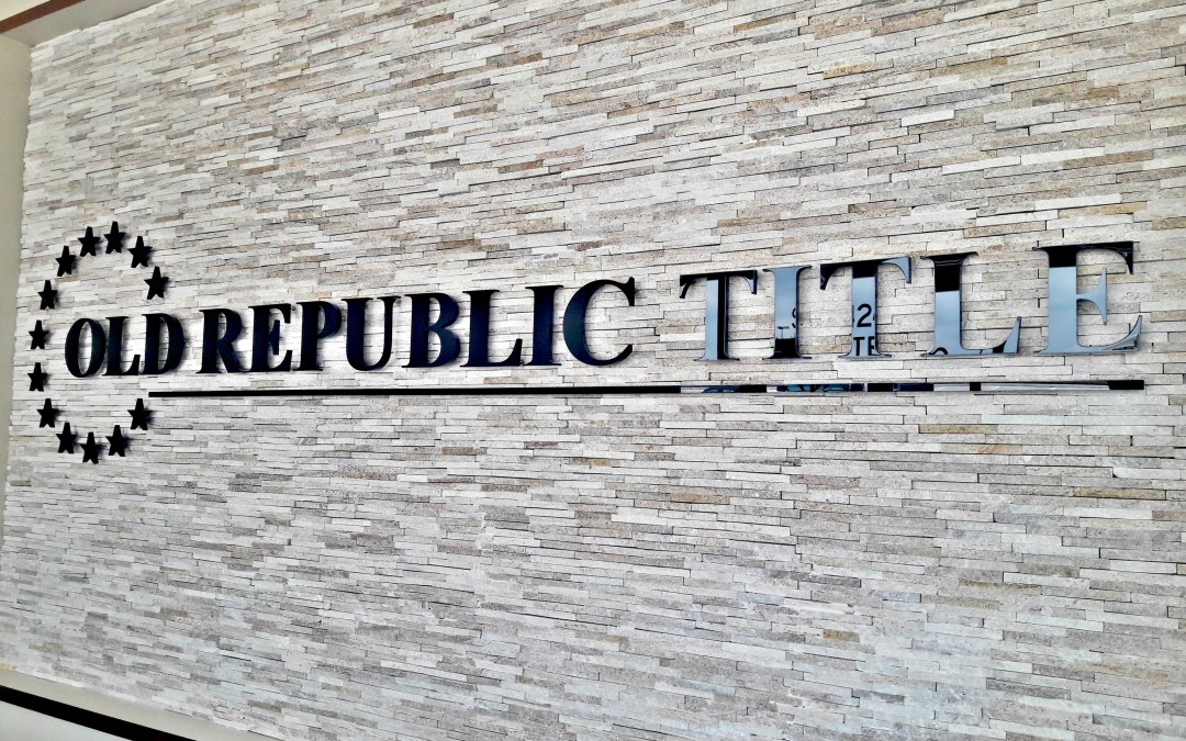 TOMBALL, TX — Custom Lobby Sign for Old Republic Title New Location