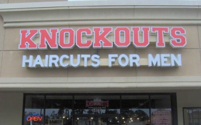 Knockouts Haircuts - Houston - Individual Letters Building Sign