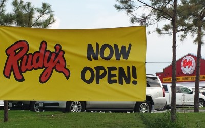 Rudys BBQ Restaurant Grand Opening Banner - Tomball