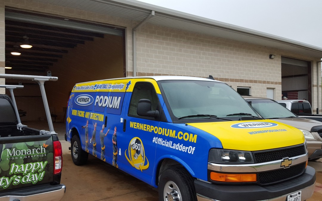 Houston, TX – Vehicle Graphics Bring Attention During NCAA Final 4 for Werner Ladder Company