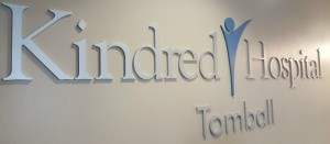 Kindred Hospital Tomball Lobby Sign