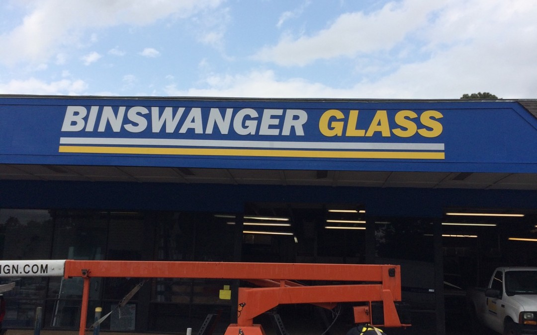 Binswanger Glass Shines with Building Sign Updates and Cabinet Sign Refacing in Houston TX