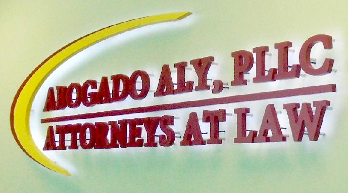 Custom Illuminated Lobby Sign for Abogado Aly, PLLC in Houston, TX